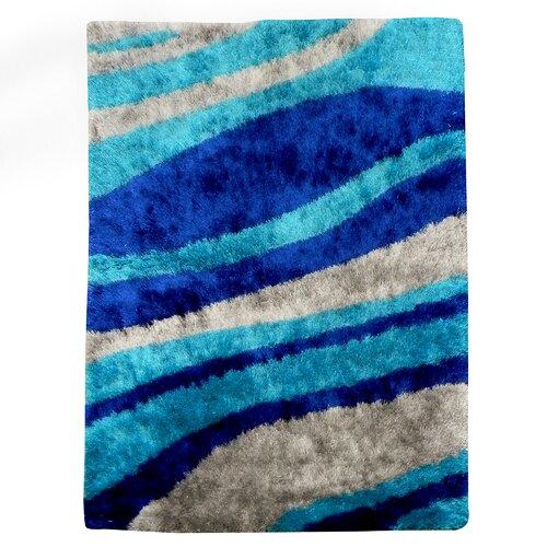 Flash Shaggy Blue Abstract Wave Rug
