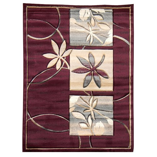 Sculpture Burgundy Floral Rug
