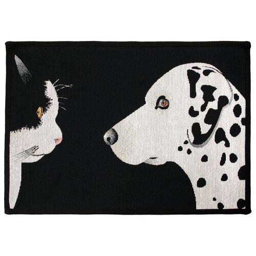 Park B Smith Ltd PB Paws & Co. Black / White Best Friends Tapestry Rug