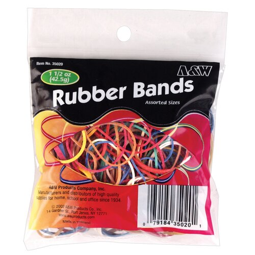 A&W 1.5 Oz Assorted Color Rubber Band