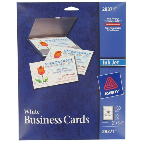 Avery 100 Count Ink Jet Printer Business Card in White
