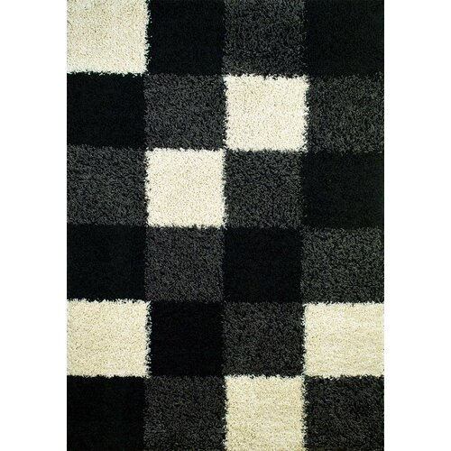 Concord Global Imports Shaggy Blocks Black Shag Rug