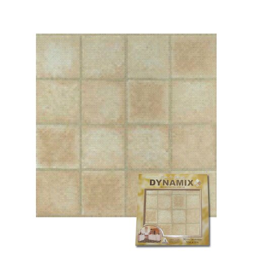 "Home Dynamix 12"" x 12"" Vinyl Tile in Machine Creme Marble Cubism"
