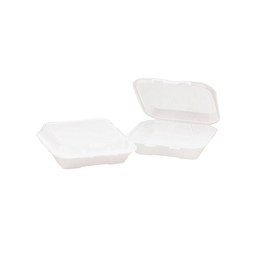General Foam Hinged Carryout Container in White