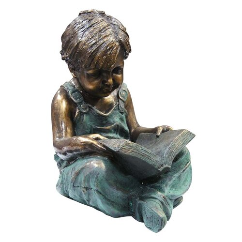 Boy Sitting Down Reading Book Statue