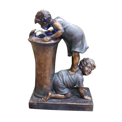 Alpine Fiberglass Resin Boy and Girl Drinking Fountain with LED Light