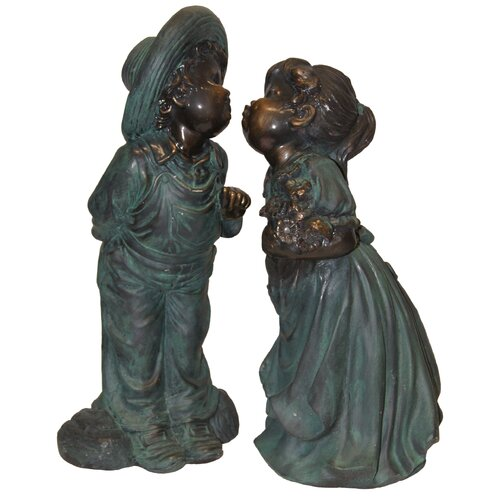 Alpine Boy and Girl Kissing Statue