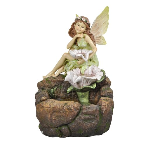 Resin Fairy and Flowers Fountain with LED Light