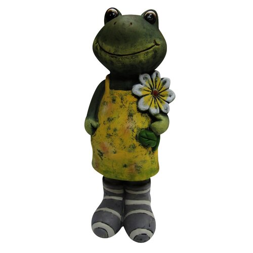 Ceramic Frog with Flower Statue