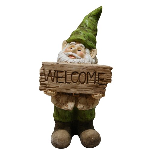 Alpine Gnome with Welcome Sign Statue