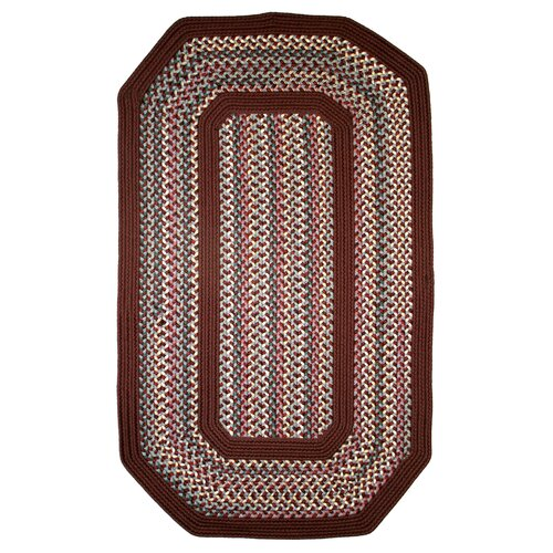 Thorndike Mills Pioneer Valley II Indian Summer with Burgundy Solids Elongated Octagon Outdoor Rug