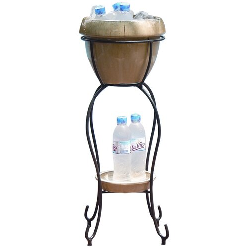 Alfresco Home Cognac Duetto Elevated Ceramic Beverage Tub Set
