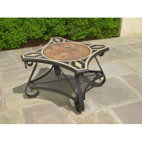 Alfresco Home San Marco Mosaic Fire Pit and Beverage Cooler Table