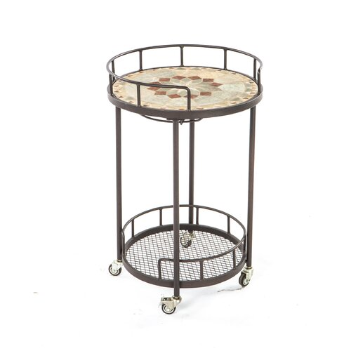 Notre Dame Mosaic Outdoor Serving Cart