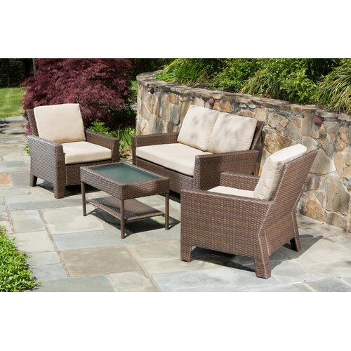 Alfresco Home Simplicity All Weather Wicker 4 Piece Deep Seating Group with Cushions