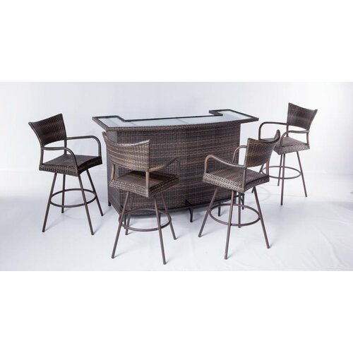 Alfresco Home Tutto All Weather Wicker 5 Piece Party Bar Set