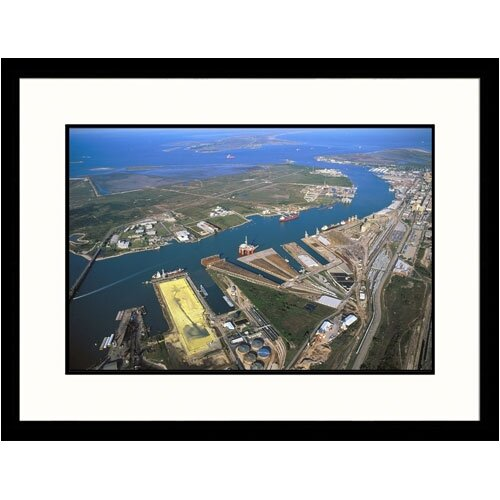 Great American Picture Cityscapes 'Aerial of Galveston' by Jim Wark Framed Photographic Print