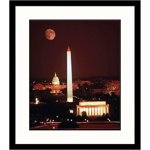 Great American Picture Cityscapes 'Moon Over DC Monuments' by Michael Howell Framed Photographic Print