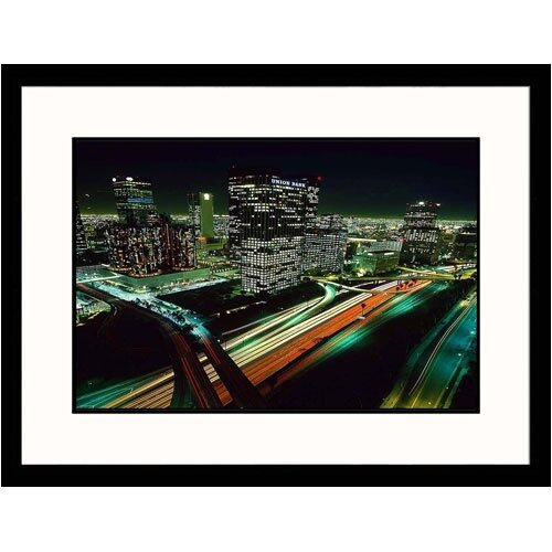 Great American Picture Cityscapes 'Los Angeles Skyline at Night' by Josh Mitchell Framed Photographic Print