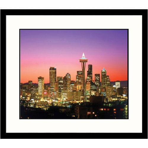 Cityscapes 'Seattle Skyline at Sunrise' by Jim Corwin Framed Photographic Print