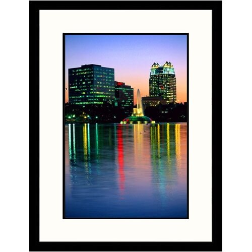Great American Picture Cityscapes 'Skyline of Lake Eola in Orlando, Florida' by Wendell Metzen Framed Photographic Print