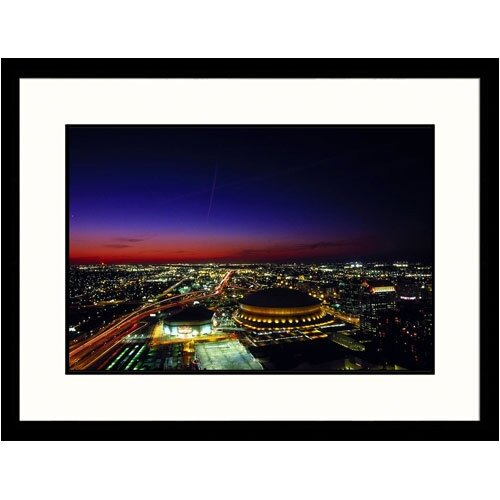 Great American Picture Cityscapes 'Superdome and Skyline at Sunset' by John Coletti Framed Photographic Print