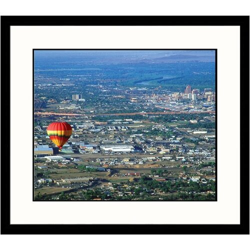 Cityscapes 'Ballon Floating Over Downtown Albuquerque' by Yvette Cardozo Framed Photographic Print