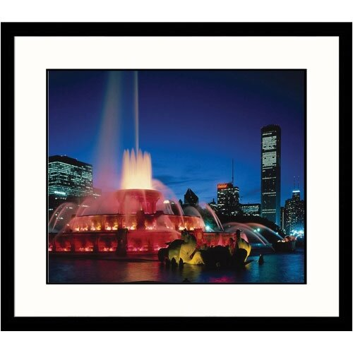Great American Picture Cityscapes 'Biuckingham Fountain at Dusk in Chicago' by James Blank Framed Photographic Print