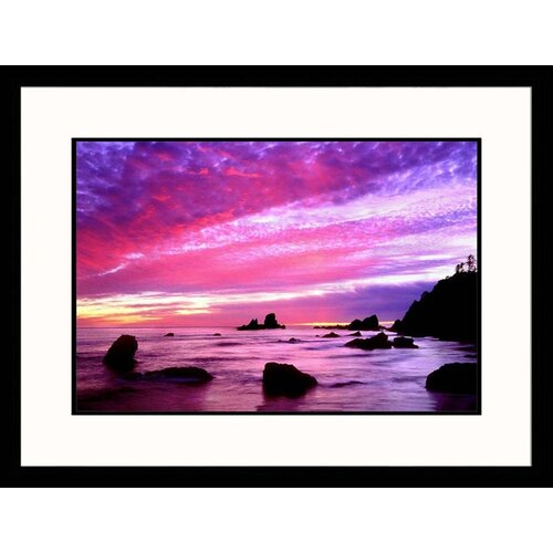 Great American Picture Seascapes 'Crescent Beach Sunset' by Russell Burden Framed Photographic Print