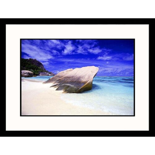 Great American Picture Seascapes 'Rock in Sand' by Mitch Diamond Framed Photographic Print
