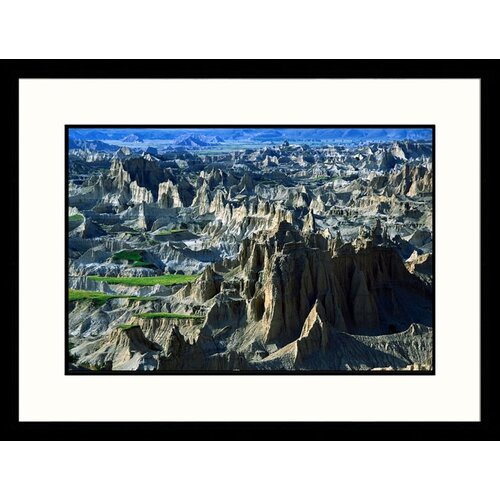 Great American Picture Landscapes 'Badlands Aerial - New Mexico, South Dakota' by Jack Jr Hoehn Framed Photographic Print