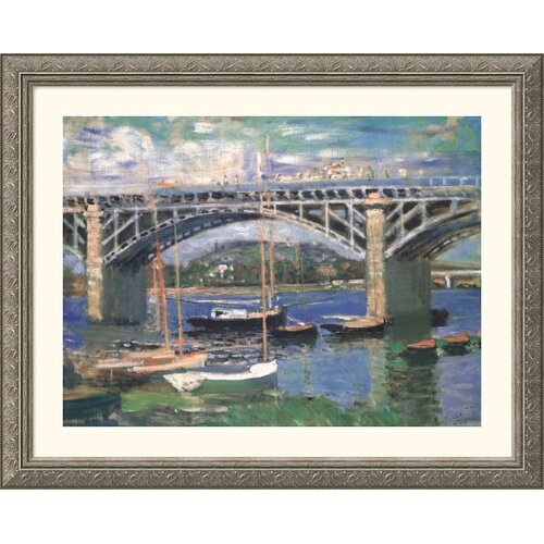 Great American Picture Museum Reproductions 'Railway Bridge, Near Argenteuil' by Claude Monet Framed Photographic Print