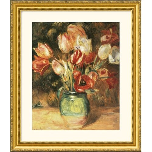 Museum Reproductions 'Vase with Tulips' by Pierre Auguste Renoir Framed Painting Print