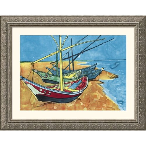 Museum Reproductions Boats by Vincent Van Gogh Framed Painting Print