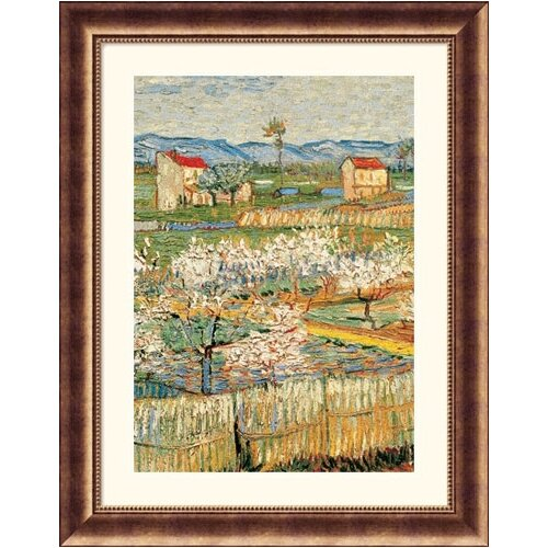 Great American Picture Museum Reproductions Pechers En Fleurs (Peach trees) by Vincent Van Gogh Framed Painting Print