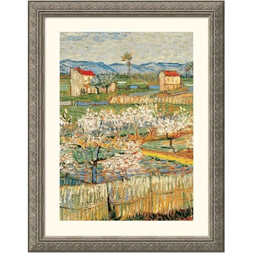 Great American Picture Museum Reproductions 'Pechers En Fleurs (Peach trees)' by Vincent Van Gogh Framed Painting Print