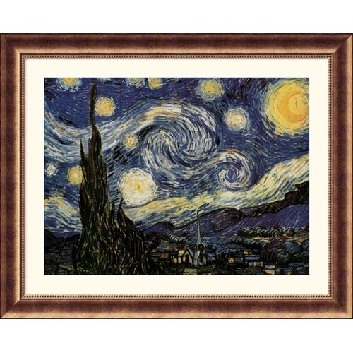 Great American Picture Museum Reproductions 'The Starry Night' by Vincent Van Gogh Framed Painting Print