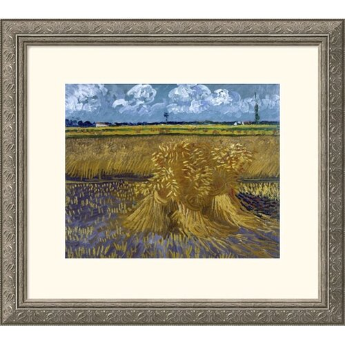 Great American Picture Museum Reproductions 'Wheat Field with Sheaves' by Vincent Van Gogh Framed Painting Print
