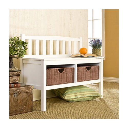 Wildon Home ® Hampton Storage Bench with Rattan Baskets