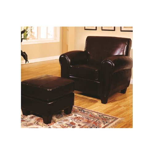 Wildon Home ® Bycast Leather Chair and Ottoman