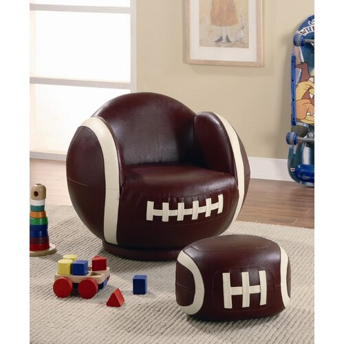 Kid's Football Chair and Ottoman