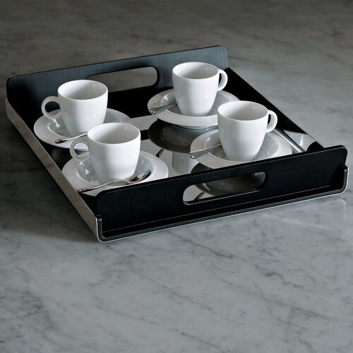 Alessi Vassily Rectangular Tray in Mirror Polished with Black Handles by Giulio Lachetti