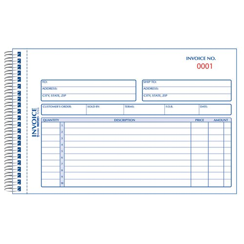 "Rediform-Blueline 5-1/2"" x 7-7/8"" Carbonless Duplicate Invoice Book"