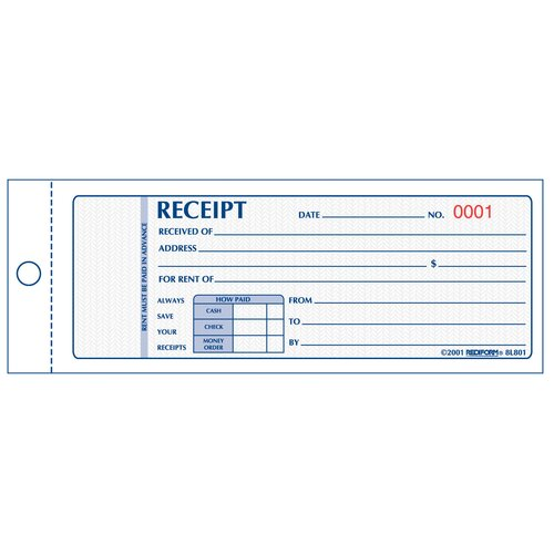 "Rediform-Blueline 3"" x 7"" Two Part Rent Receipt Book"