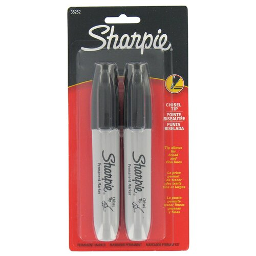 Black Chisel Tip Permanent Marker (2 Pack)