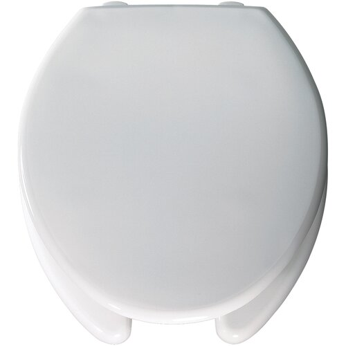 Bemis Medic-Aid Lift Commercial Open Front Solid Plastic Round Toilet Seat