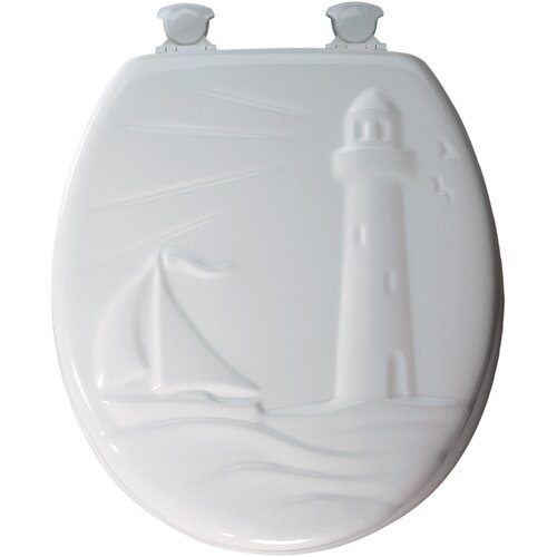 Bemis Sculptured Molded Wood Decorator Lighthouse Design Round Toilet Seat