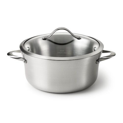 Contemporary Stainless Steel 6.5-qt. Stock Pot with Lid
