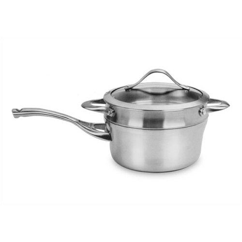 Contemporary Stainless Steel 2.5-qt. Saucepan and Double Boiler Set with Lid