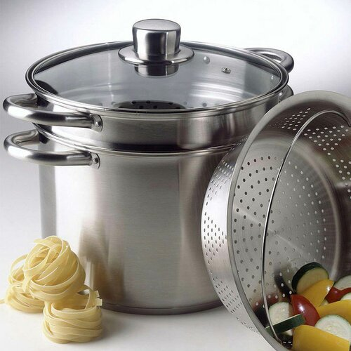 Simply Stainless Steel 8 Quart Multi-Pot with Steamer and Pasta Insert